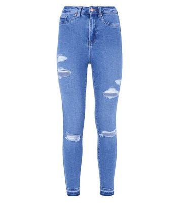 Bright Blue Ripped High Waist Super Skinny Hallie Jeans New Look