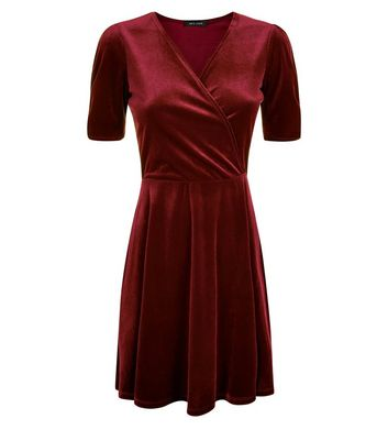Burgundy Velvet Wrap Dress New Look