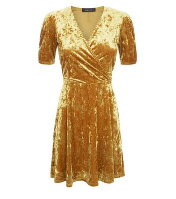 Gold Velvet Wrap Dress New Look