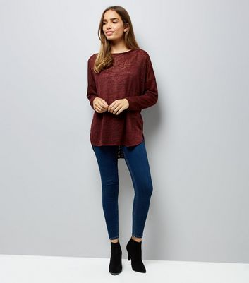 Blue Vanilla Burgundy Lace Up Back Top New Look