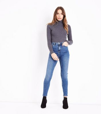 Blue High Waist 5 Pocket Super Skinny Dahlia Jeans New Look