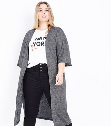 Curves Silver Metallic Marl Kimono Cardigan New Look