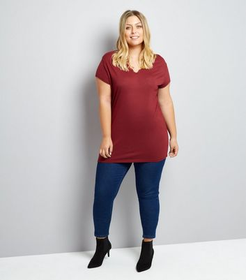 Curves Burgundy Lace Trim T-Shirt New Look