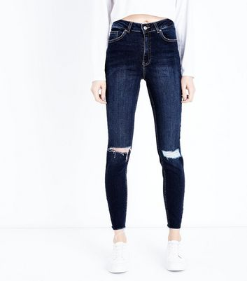 Blue High Waist Ripped Knee Skinny Dahlia Jeans New Look