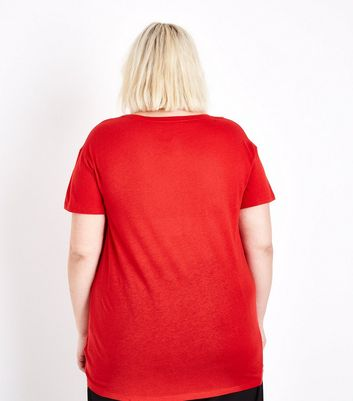 Curves Red Oversized T-Shirt New Look