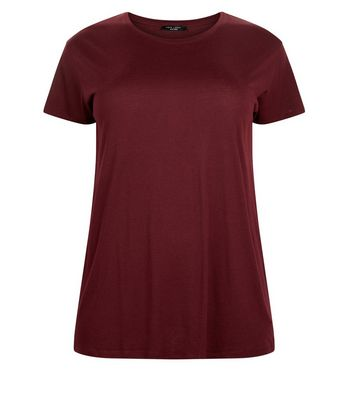 Curves Burgundy Oversized T-Shirt New Look