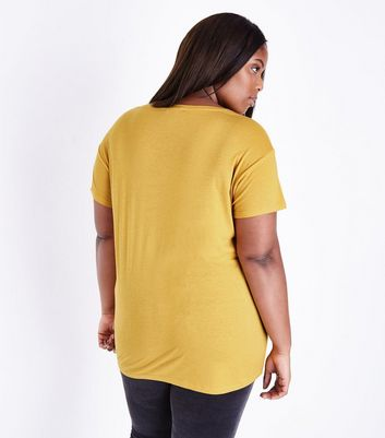 Curves Mustard Yellow Oversized T-Shirt New Look