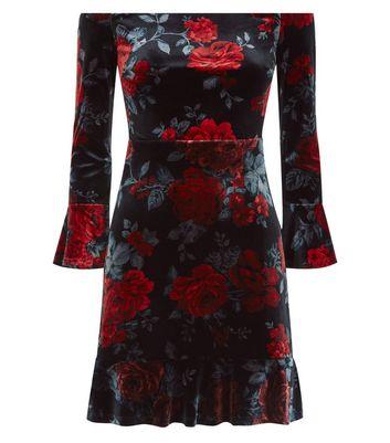Black Floral Velvet Bardot Neck Dress New Look