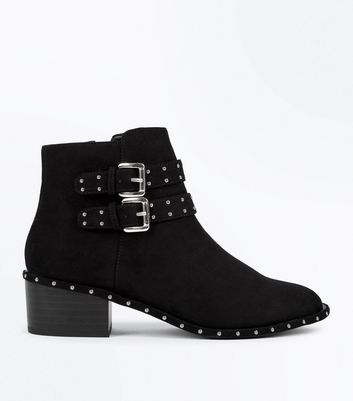 Girls Black Studded Suedette Block Boots
