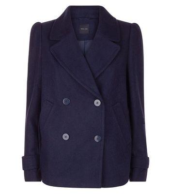 Navy Puff Sleeve Pea Coat New Look