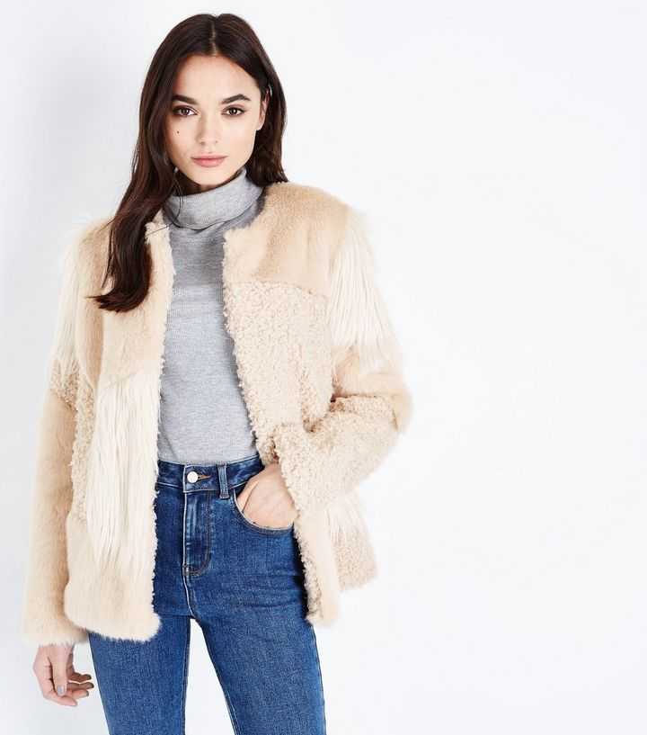 8aa8a1f72 Cream Patchwork Faux Fur Jacket