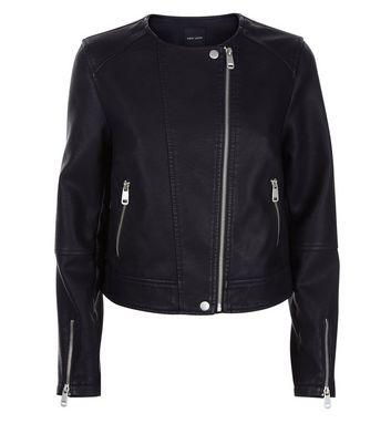 Black Leather-Look Collarless Biker Jacket New Look