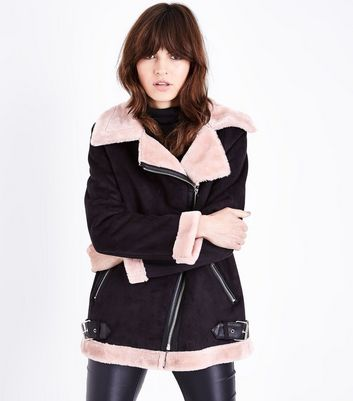 Black and Pink Faux Fur Trim Aviator jacket New Look