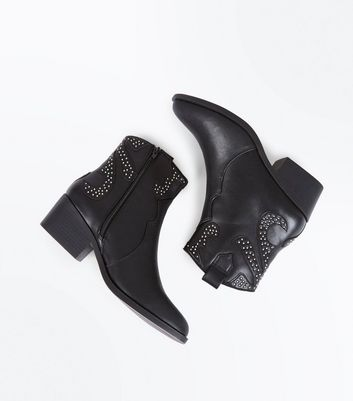 Black Studded Western Ankle Boots New Look