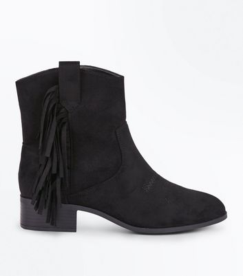 Black Suedette Fringe Trim Western Boots New Look