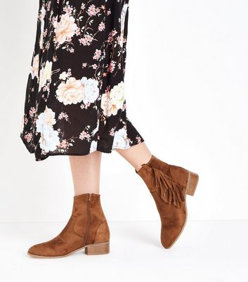 Tan Suedette Fringe Trim Western Boots New Look