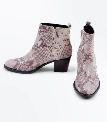 Black Leather Faux Snakeskin Western Boots New Look