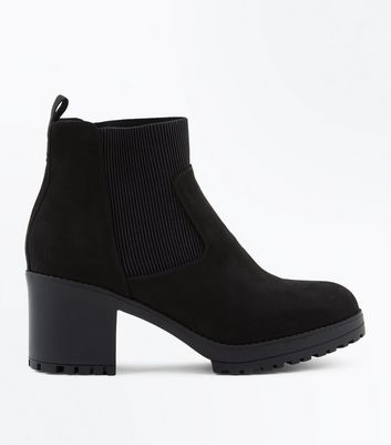 Black Suedette Chunky Heeled Boots