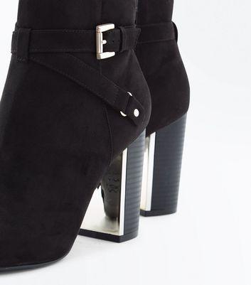 Black Suedette Metal Block Heel Ankle Boots New Look