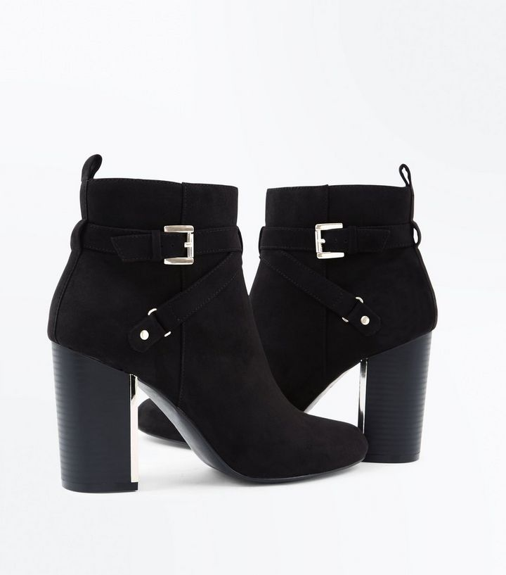 7f5cfcd06b2 Black Suedette Metal Block Heel Ankle Boots Add to Saved Items Remove from  Saved Items