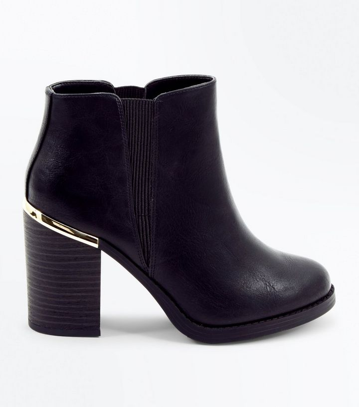 a7ab9e707fe Black Metal Trim Block Heel Ankle Boots Add to Saved Items Remove from  Saved Items
