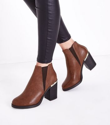 Tan Metal Trim Block Heel Ankle Boots New Look
