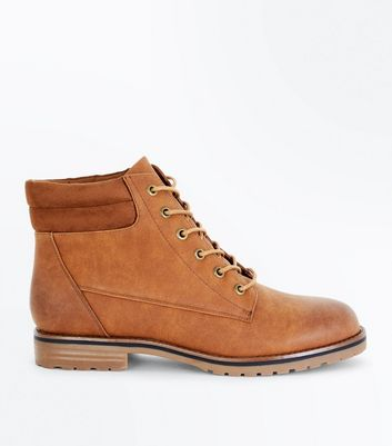 Tan Contrast Cuff Lace Up Hiker Boots