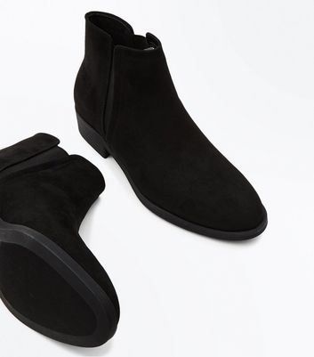 Black Suedette Elastic Side Ankle Boots New Look