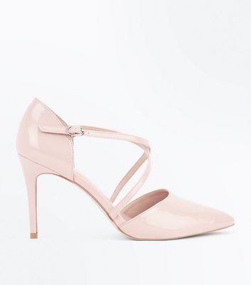 Nude Patent Cross Strap Pointed Court