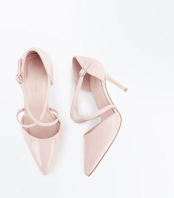 Nude Patent Cross Strap Pointed Court Shoes New Look