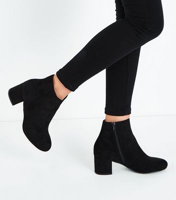 Teens Black Suedette Block Heel Ankle Boots New Look