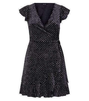 Black Glitter Velvet Frill Trim Wrap Dress New Look