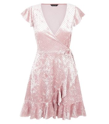 Pink Glitter Velvet Frill Trim Wrap Dress New Look