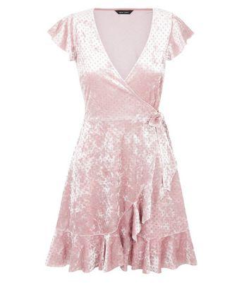 Pink Glitter Velvet Frill Trim Wrap Dress New Look