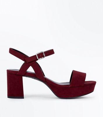 Teens Dark Red Strappy Suedette Platform Heels New Look