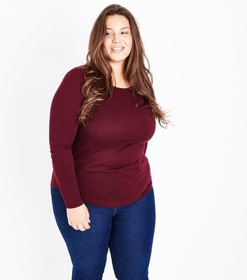 Curves Burgundy Long Sleeve Crew Neck Top New Look