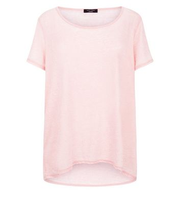 Curves Pink Dip Hem T-Shirt New Look