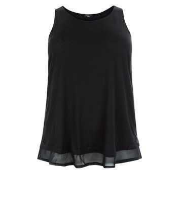 Curves Black Chiffon Hem Vest Top New Look