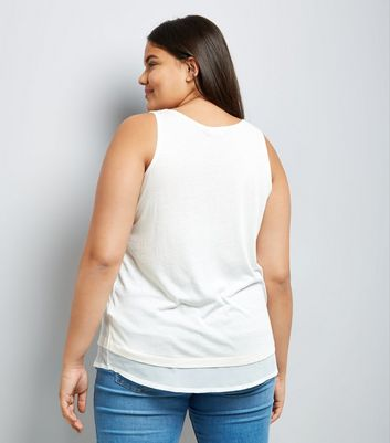 Curves White Chiffon Hem Vest New Look