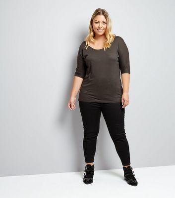 Charcoal Grey Half Sleeve T-Shirt New Look