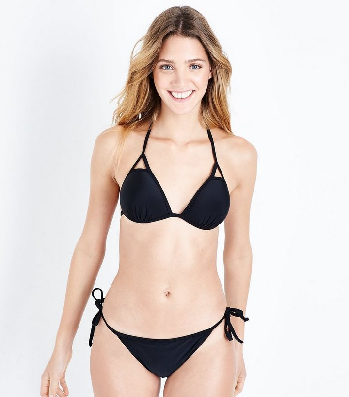 8c611e8e2aa Black Triangle Cut Out Halterneck Bikini Top | New Look