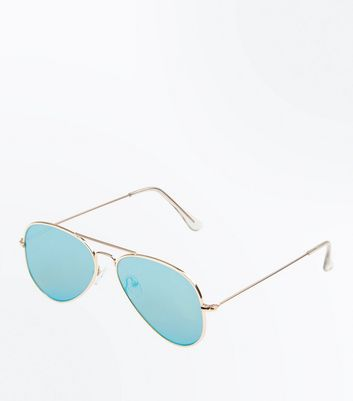 Gold Pilot Sunglasses New Look