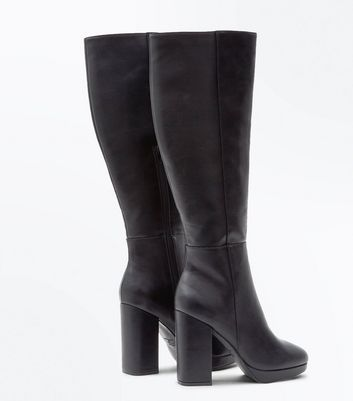 Black Block Heel Platform Knee High Boots New Look
