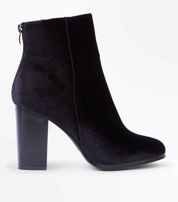 Black Velvet Block Heel Zip Back Boots New Look
