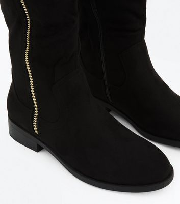 Wide Fit Black Suedette Zip Side Knee High Boots New Look