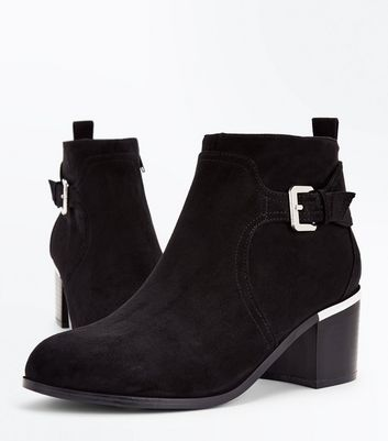 Wide Fit Black Comfort Suedette Buckle Side Boots New Look