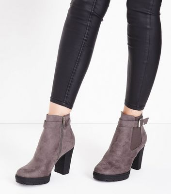 Wide Fit Grey Suedette Buckle Side Heeled Boots New Look