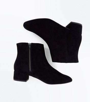 Wide Fit Black Suedette Low Block Heel Boots New Look