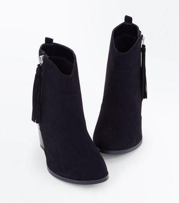 Wide Fit Black Suedette Tassel Zip Heeled Boots New Look