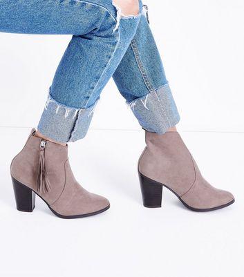 Wide Fit Light Brown Suedette Tassel Zip Heeled Boots New Look